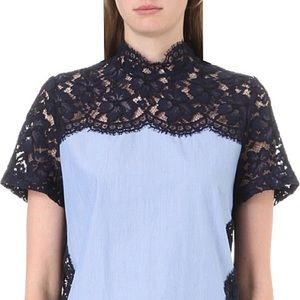 Sandro Effie Lace Striped Top